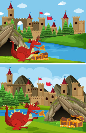 Two scenes with red dragon guarding treasure illustration. Illustration