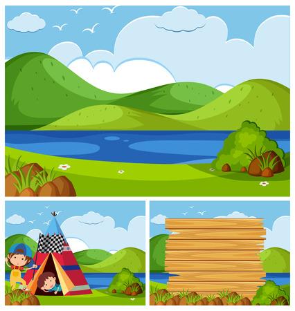 Three nature scenes with kids camping illustration. Illustration