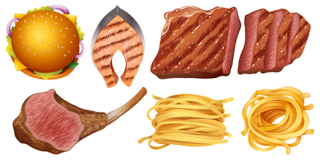 Different types of food illustration Illustration