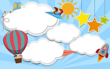 Border template with kids flying in sky illustration