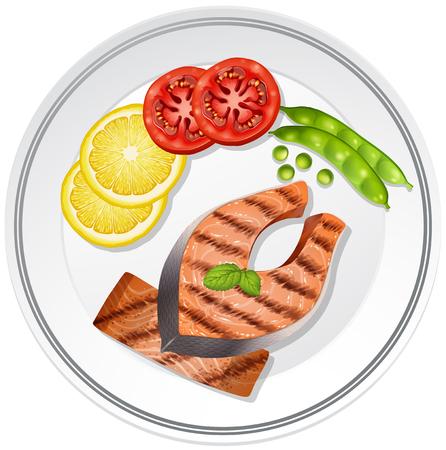 Salmon and vegetables on the plate illustration Illustration