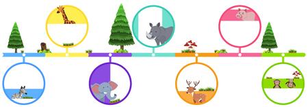 Animals on colorful bar illustration