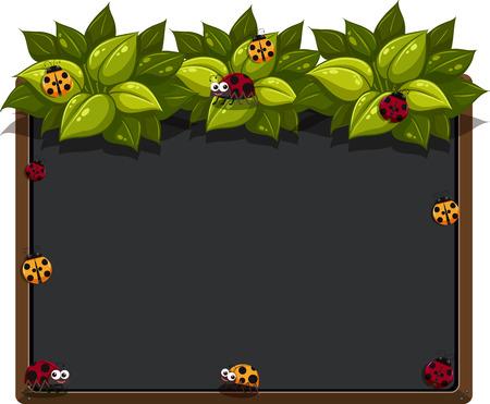 Blackboard with ladybugs and leaves illustration