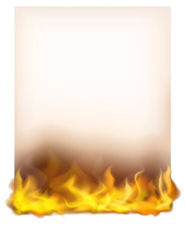 Paper template with fire at bottom illustration Illustration