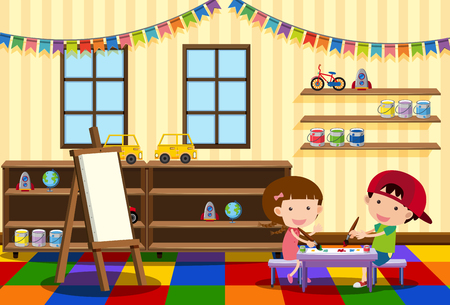 Two kids painting in the classroom illustration
