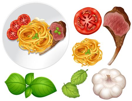 Steak and pasta on the plate illustration Illustration