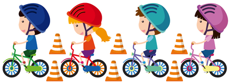 Children riding bike with helmet Ilustração