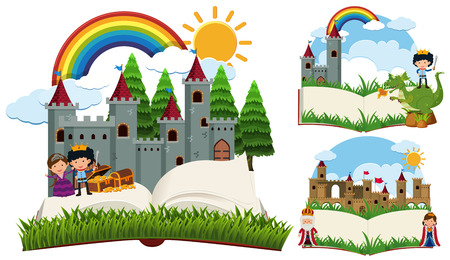 Storybook with fairytale characters and castles illustration