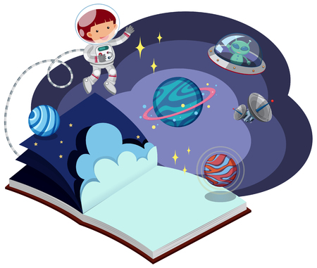 Book with astronaut in space illustration