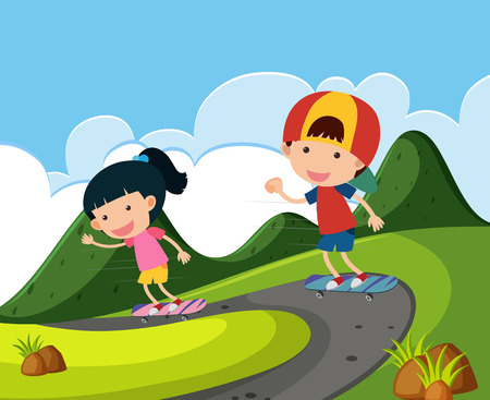 skateboard park: Two kids playing skateboard in the park illustration