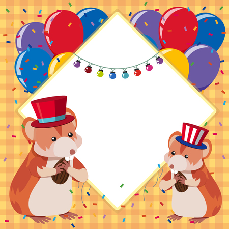 Border Template With Two Hamsters And Colorful Balloons Illustration ...
