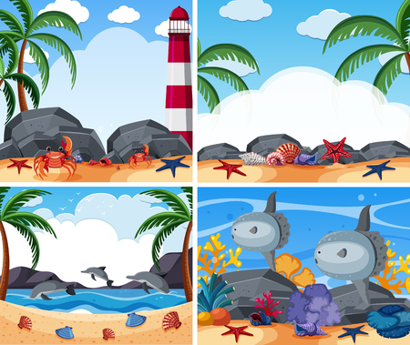 Four ocean scenes with animals and beach illustration