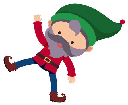 Little dwarf wearing green hat illustration