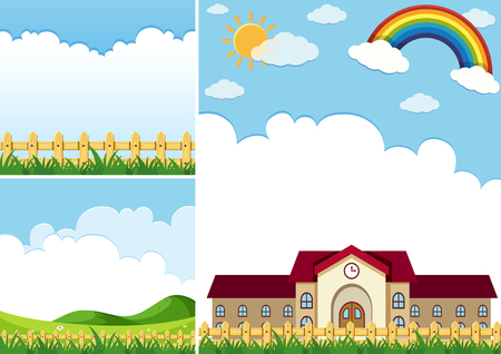 Three background scenes with blue sky illustration