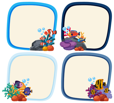 Border template with cute fish illustration