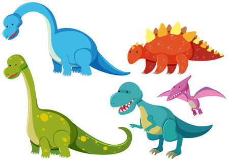 Five types of dinosaurs on white background illustration