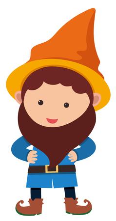 오렌지 모자 일러스트와 함께 작은 왜성