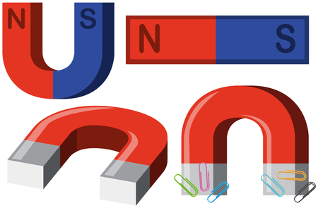 Different shapes of magnets illustration
