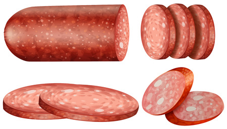 Salami slices on white background illustration