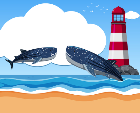 Two whale sharks in the ocean illustration