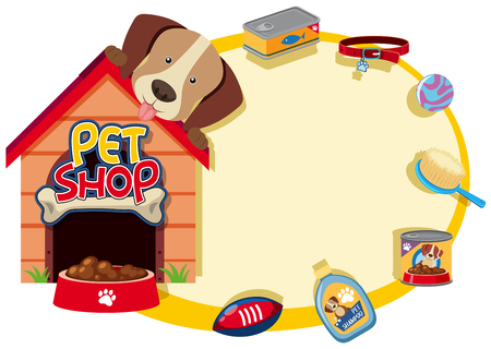 Border template with cute pet and accessories illustration