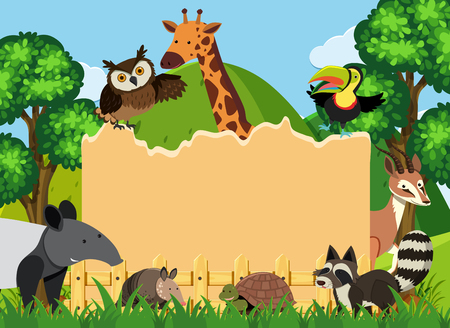 Border template with wild animals in park illustration. Stock Illustratie