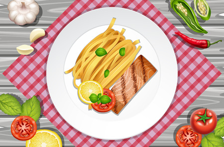 Salmon steak and pasta on the plate, vector illustration. Stock Vector - 91245451