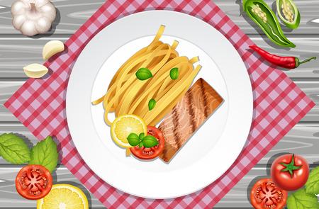 Salmon steak and pasta on the plate, vector illustration.