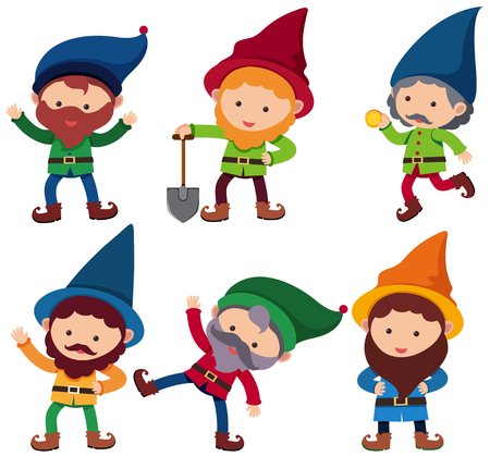 Six dwarfs with happy face, vector illustration.