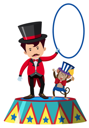 Animal trainer and monkey on stage, vector illustration.