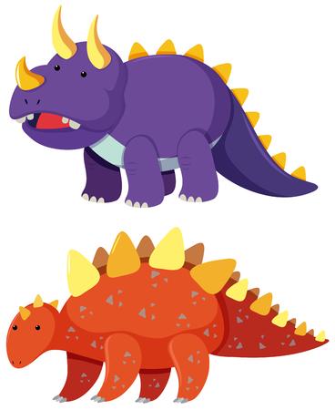 Two types of dinosaur on white background illustration