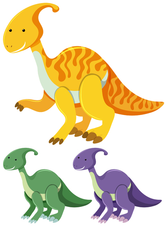 Three parasaurolophus in different colors illustration.