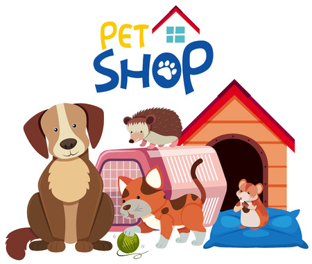Cute pets by the pet house, vector illustration.