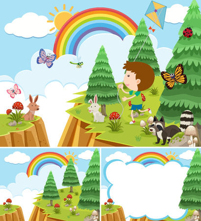 Nature scenes with boy and many animals illustration.