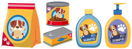 Different types of products for dog illustration. Vectores