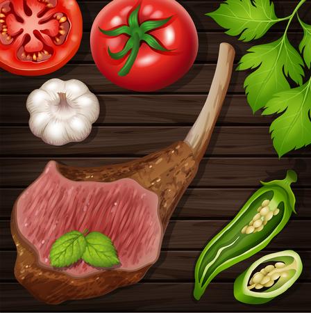 Lamb chop with fresh vegetables on wooden board illustration. Illustration