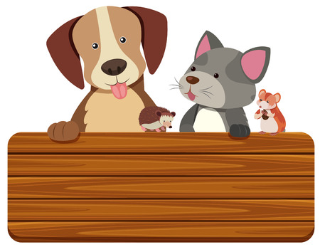 Wooden sign with cat and dog in background illustration