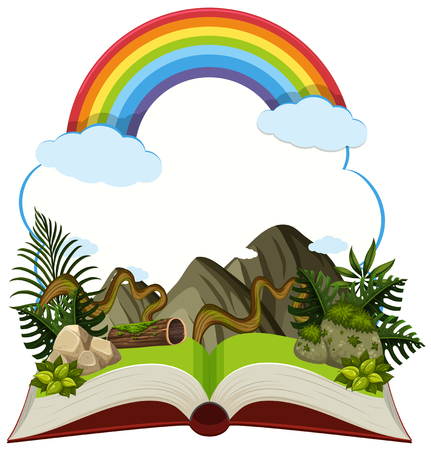 Storybook with mountain and rainbow illustration. Stock Illustratie