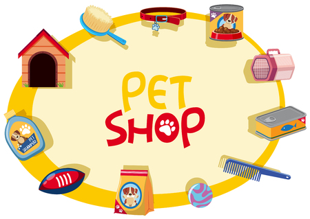 Pet shop sign with many pet accessories illustration.