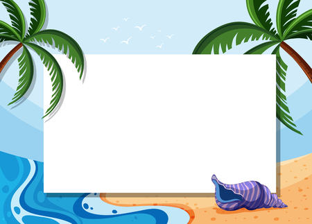 Border template with coconut trees and shell on beach illustration.