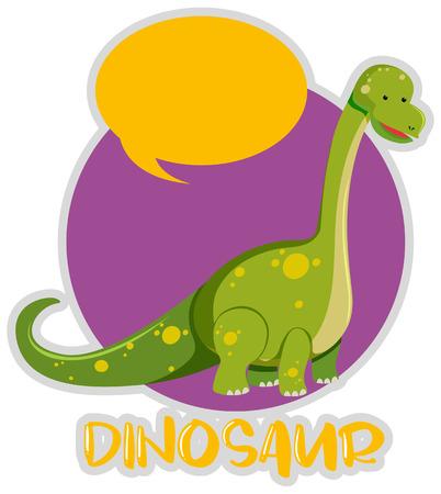 Dinosaur sticker design with brachiosaurus illustration Illustration