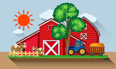 Farmyard with cows and blue tractor illustration Ilustração