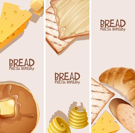 Bread fresh bakery background design, vector illustration. Stock Illustratie