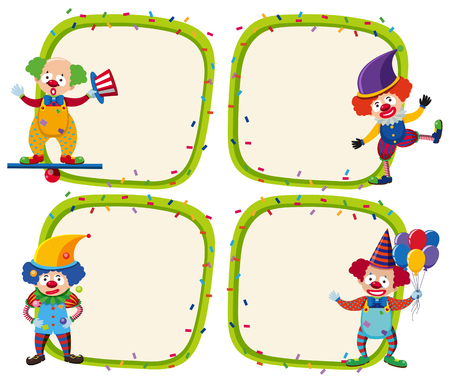 Four border templates with happy clowns illustration.