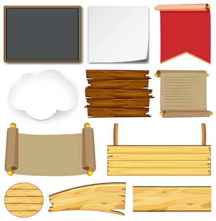 Different designs for signs and boards illustration