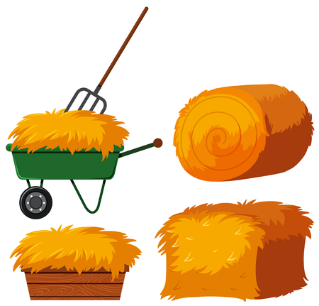 Dry hay in bucket and wagon illustration Çizim