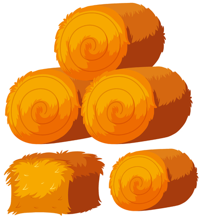 Different shapes of haystacks, vector illustration.