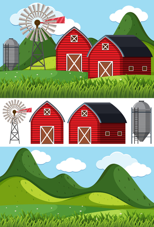 Farm scenes with red barns and windmill illustration