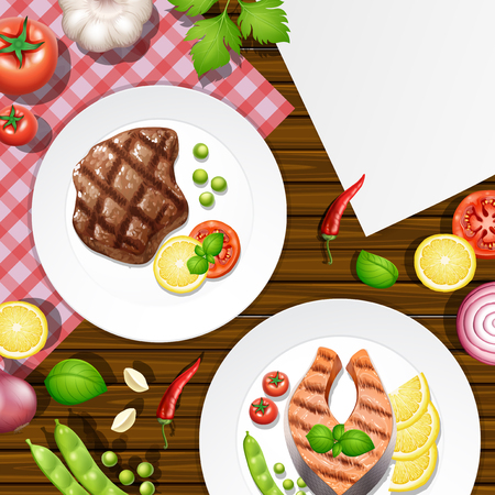 Different menu on wooden table illustration