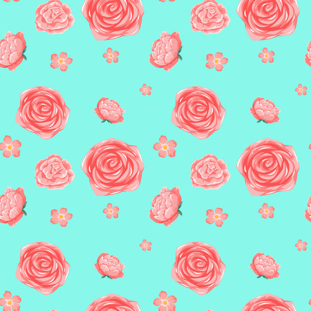 Seamless background template with pink roses illustration.